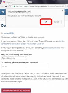 حذف اکانت اینستاگرام 4